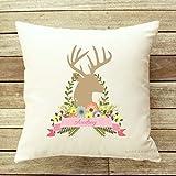 Cojín personalizado con diseño de ciervo para bebé, regalo para niña, habitación de los niños, cojín de lanzamiento para niña, cremallera, cojín de juegos, decoración