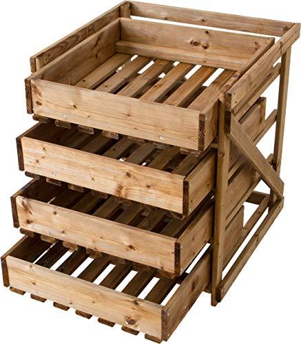 Nativ Obsthorde, Holz, 4 Schubladen, Gemüsehorde, Aufbewahrung, L50 x B54 x H60 cm, Holzregal aus Kiefernholz mit Schubladen für Obst und Gemüse