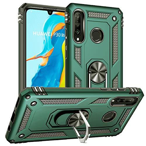 Pegoo Custodia Huawei P30 Lite, Cover Huawei P30 Lite Armatura Antiurto Copertura Cassa Custodia Silicone Cover Case Supporto Stabile Protettiva Shell per Huawei P30 Lite (Verde Scuro)