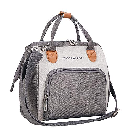 Convertible Diaper Bag Tote, CANWAY Unisex Travel Bag Maternity Baby Nursing Nappy Changing Bag with 2 Insulated Pockets, Dirty Diaper Pouch Bag for Mom and Dad