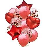 GX&XD 12inches Confetti Ballons,Premium Latex Ballons de fête Transparent Cinq étoiles Coeur Livre d'Or Ballons pour la décoration de fête Anniversaire Birthday-P
