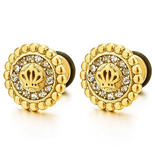 12mm Oro Corona Pendientes de Hombres Mujer con Circonio Cúbico, Acero Inoxidable, 2 Piezas