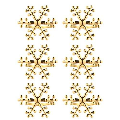 Amosfun 6pcs Christmas Snowflake Napkin Ring Xmas Napkin Holder Buckles for Holiday Restaurant Hotel Table Setting Decoration Golden