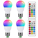 RGB LED Light Bulb, Color Changing Light Bulb, 40W Equivalent, 450LM Dimmable 5W E26 Screw Base RGBW, Mood Light Flood Light Bulb - 12 Color Choices - Timing Infrared Remote Control Included (4 Pack)