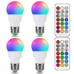 RGB LED Light Bulb, Color Changing Light Bulb Dimmable 5W E26 Screw Base RGBW, Mood Light Flood Light Bulb - 12 Color Choices - Timing Infrared Remote Control Included, 40W Equivalent (4 Pack)
