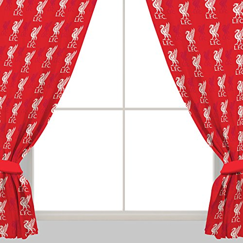 """Liverpool FC 66"""" x 72"""" Drop Polycotton Curtains Ready Made"""