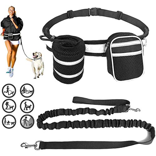 BETOP Hands Free Dog Leash Pet Walking Belt Waist Belt Ajustable with 2 Dog Treat Pocket Pouch Bags,Retractable Bungee,Reflective Strip for Dogs Running Walking Jogging Training Hiking