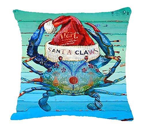 ZYCH Recycled Beach Nautical Blue Crab Coastal Ocean Cotton Linen Square Throw Pillow Case Cushion Cover 18 x 18 Throw Pillow Covers (11)
