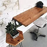 Industrial Rustic Wall-Mounted Drop-Leaf Table, Dining Table Desk, Pine Wood Wall-Mounted Bar Tables (47'X14')