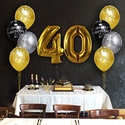 Unomor 40th Birthday Decorations with 40th Birthday Balloons in Black, Silver and Gold for Birthday Supplies—30 Pack