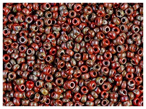 Miyuki Round Seed Beads, 15/0, 5g, perlas de vidrio redondas japonesas, cuentas de semillas, diámetro de 1.5 mm, agujero redondo, Opaque Red Garnet/Picasso