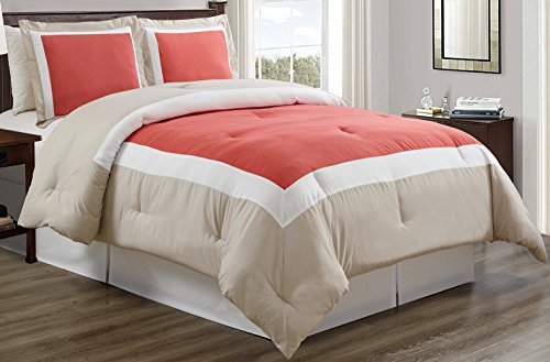 Grand Linen 3-Piece CORAL/LIGHT GREY/WHITE Color Block Duvet Cover set, KING size Includes 1 Cover and 2 Shams - Brushed Microfiber, Ultra Soft and Durable