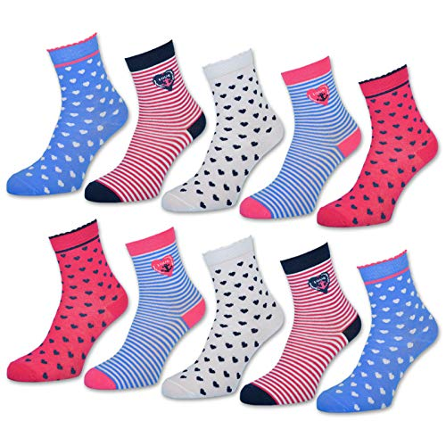 10 Paar Kinder Socken Jungen und Mädchen Baumwolle Kindersocken - 54330 (10 Paar | Mädchen 1, 27-30)