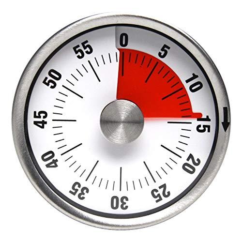FHISD Basics - Temporizador magnético mecánico de acero inoxidable para cocina, forma redonda, 60 minutos