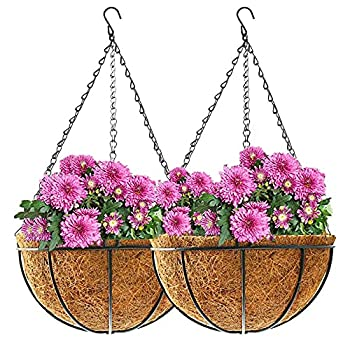 Hanging Planter Basket for Indoor Outdoor,2 Pack 21 Inch Round Eco-Friendly Coconut Palm Hanging Flowers Pots  Brown  21inch