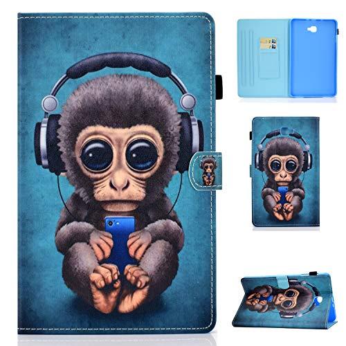 Succtop Cover Samsung Tab A6 Custodia di Pelle PU Portafoglio Stand Custodia di Tablet con Pen Holder Funzione Sleep/Wake Auto per Samsung Galaxy Tab A 2016 10.1 Pollici SM-T580/SM-T585 Musica Scimmia