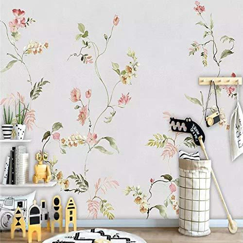 4D behang wandschilderingen, Nordic minimalistisch roze bloemenpatroon groen blad plant Hd kunstdruk grootte fotobehang voor huis woonkamer slaapkamer bibliotheek wand decor, 76 × 108 in 190 cm (H) X 116in×192in 290cm(H)×480cm(W)