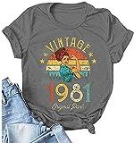 40th Birthday Gift T-Shirt for Women Retro Birthday Shirt Vintage 1981 Original Parts Casual Loose Tee Tops (Grey, M)