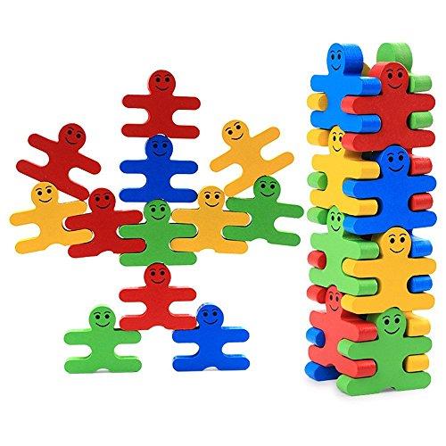 Colleer 16 Stück Bausteine Holz Cartoon Pädagogisches Gleichgewicht Blöcke für Kinder DIY Stapeln Block Gebaut Spielzeug Geschenk Für Kinder Früherziehung Spielzeug