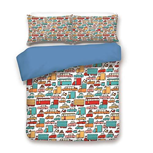 Juego de funda de edredón, juego de cama decorativo de 3 piezas con 2 fundas de almohada, multicolor