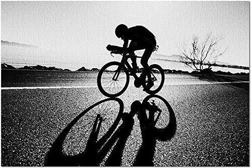 YYTOOF HD Rennrad Radfahrer Silhouette von Küste - Schwarz & Weiß 9007832 (19x27 Premium 1000 Stück Puzzle Made in USA!)