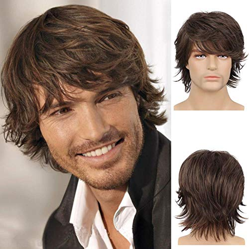 Wiwige Mens Brown Wig Short Layered Natural Fluffy Synthetic Hair Wig Heat Resistant Halloween Cosplay for Male with Wig Cap