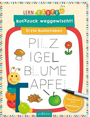 Lernraupe - Ruckzuck weggewischt! Erste Buchstaben: mit abwischbaren Stift | Lernheft mit Rätseln zum Immer-wieder-Machen