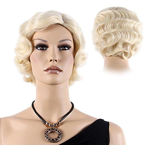 STfantasy Blond Finger Locken 20er Perücke Burlesque Faschings perücke Betty Wasserwelle gelockt kurz layered Retro wig für Frauen Cosplay Kostümparty Karneval Halloween