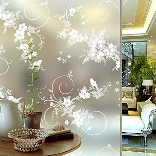 Pegatinas decorativas de vinilo adhesivo para ventana de privacidad, película de vidrio para ventana con pegamento para cocina, dormitorio, cuarto de baño, 45 cm de largo, 500 cm de ancho