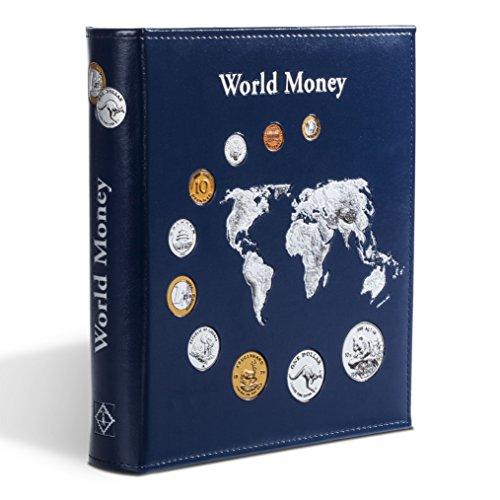 """Leuchtturm 323813 Münzalbum Optima """"World Money"""" - inkl. 5 Hüllen für Münzen mit Ø 42, 27, 20, 34 mm - blau"""