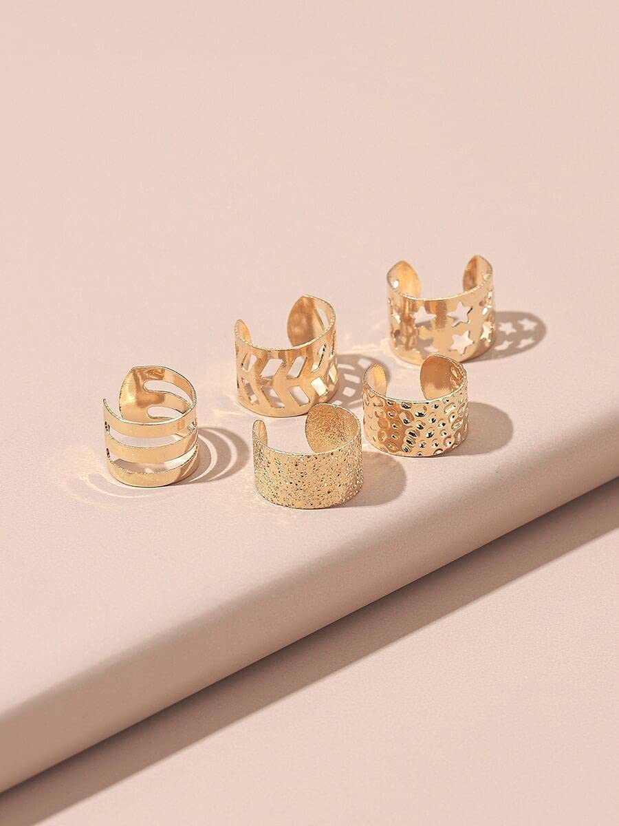 Hoop Earrings 5pcs Hollow Out Ear Cuff (Color : Gold)