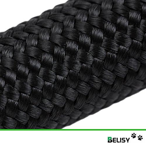 HUNDELEINE von BELISY – hochwertige Führleine und Doppelleine – 2 Meter Länge & 3-fach verstellbar – Laufleine/Leder-Leine – besonders praktisch, stabil & eng geflochten – schwarz – Premium Qualität - 6