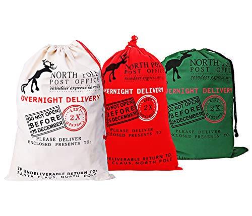 3 PIEZAS Bolsa de lona de Santa Saco de Navidad para regalos Bolsa de Santa con lazo de gran tamaño de 70 x 50 cm Patrón 1 (Patrón 2)