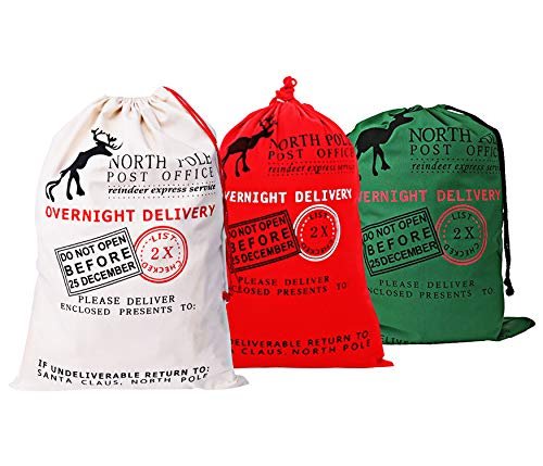 "KEFAN 3 Pack Christmas Bag Santa Sack Canvas Bag for Gifts Santa Sack with Drawstrings Extra Large Size 27.5""x19.5"" (Pattern 2)"
