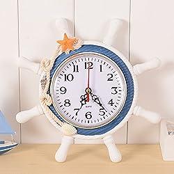 SANGDA Wall Clock,Nautical Clocks Beach Wheel Wall Clock Decoration Maritime Decorative Time Clock Sailboat Steering Wheel Helm Decoration Nautical Boat Ship Wheel Wall Decor(Color Random)