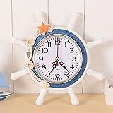 Cozyhoma Ancla Reloj de pared de rueda de reloj de pared Decoración náutica con tema de mar rueda timón dirección colgante decoración