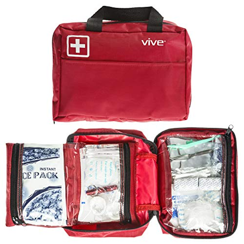 Vive First Aid Kit (300 Piece) - Survival Trauma Pack for Hurricanes, Earthquake, Car, Home - Small Hiking Gear for Vehicle, Auto Car and Camping - Emergency Medical Supply Safety Bag with Gauze, Tape