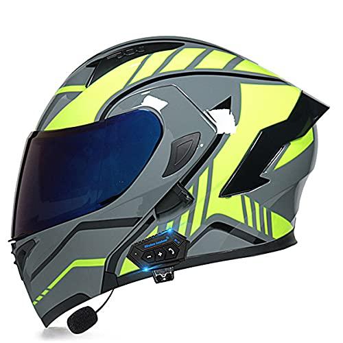 Cascos modulares de la motocicleta ECE/DOT certificación Bluetooth Flip Up Cascos integrales Dual-altavoz Bluetooth auricular con micrófono para respuesta automáti(Size:XXL (63-64CM),Color:Amarillo-C)