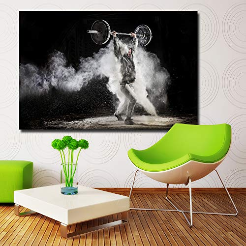 NIMCG HD Print Canvas Pictures Wall Art Ejercicio Barbell Painting Imagen Popular para póster de decoración de Sala de Estar (Sin Marco) 50x70CM