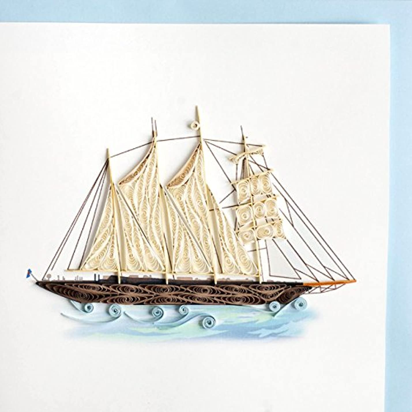 Origamo QU028?–?Greeting Card, Ship, Filigree of Paper, Origami pydvwadhkozvr876