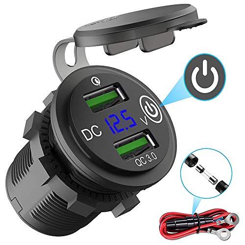 Auto USB Steckdose Kfz Ladegerät Buchse QC3.0 12V/24V Wasserdicht Dual USB Kfz Ladebuchse mit 23,6-Zoll-Kabel LED Anzeige und Touch Schalter für 12-V-Auto-Wohnmobil-Boot-Wohnmobil-Motorrad-Mobil