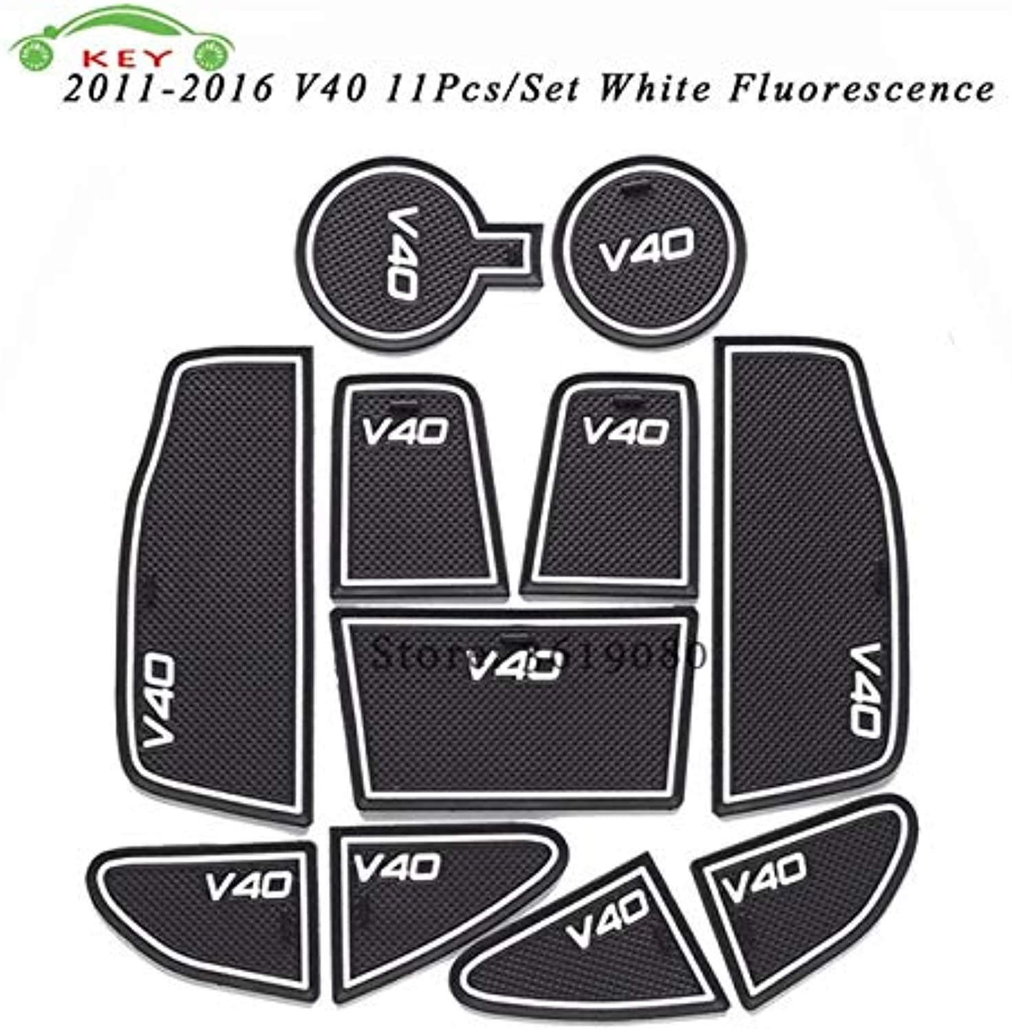 For Volvo V40 20112016 Car Gate Slot Mat Rubber AntiSlip Door Pad Auto Cup Holder Mat Car Interior Accessories Decoration  (color Name  White Fluorescence)