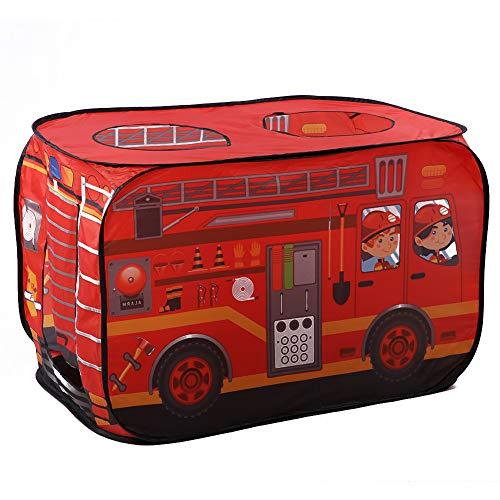 YOPOTIKA Tienda de campaña portátil para niños con fuego, bomberos, camiones, plegable, juego en casa con 3 soportes, color rojo