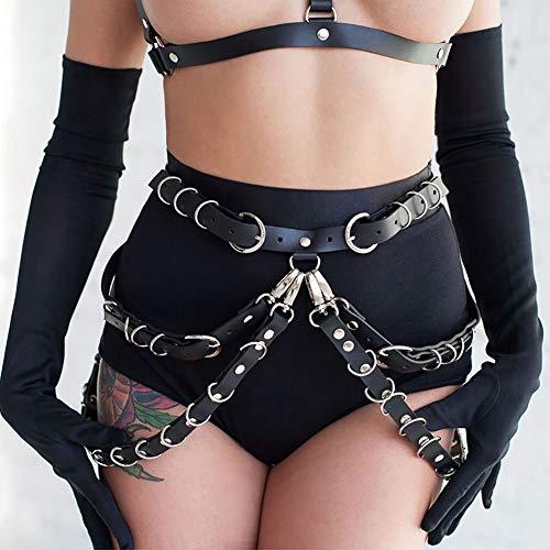 Sethain Punk Cuero Cintura Aprovechar Negro En capas Cintura Cadena Cinturón gótico Pretina para mujeres