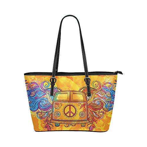InterestPrint Hippie Vintage Car a Mini Van with Peace Sign Women's Leather Tote Shoulder Bags Handbags with Zipper