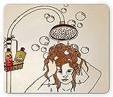 Alfombrilla de ratón de dibujos animados, mujer que se ducha, champú, burbujas de jabón, cuidado del cabello, relajación, alfombrilla rectangular de goma antideslizante, tamaño estándar, champán y car