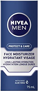 NIVEA MEN Protect & Care Face Lotion (75 ml), Aloe Vera Enriched Face Moisturizer To Prevent Skin from Drying Out, Dermato...