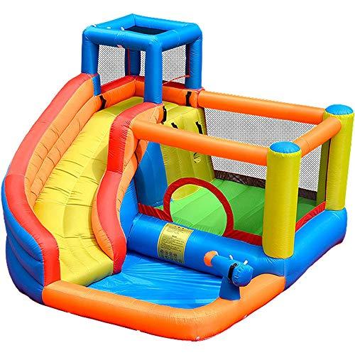 Juguetes para Niños Castillo Inflable para Niños Casa De Rebote, Tobogán Interior Y Exterior Y Trampolín para Niños, Zona De Juegos con Rociadores con Red De Protección Casa De Rebote