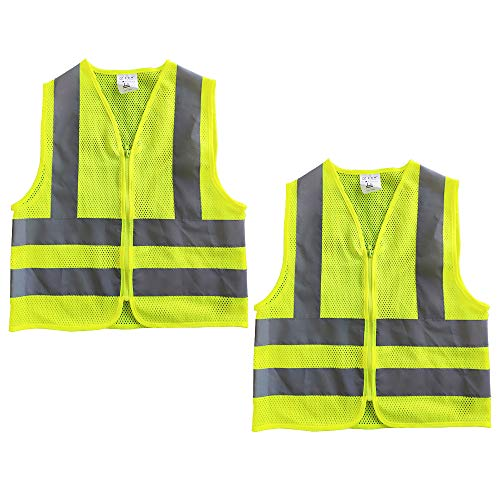 2 Warnweste Kinder Sicherheitsweste mit Reißverschluss 4 Reflektierende Warnweste Atmungsaktiv für Kinder 5-12 Jahre (M, Gelb)