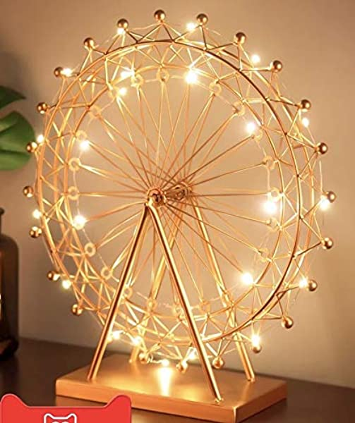Kuso Hand Forged Wrought Crafts Iron Metal Ferris Wheel Statue With String Lights Tabletop Ornaments For Home Furnishing Decoration Gold L